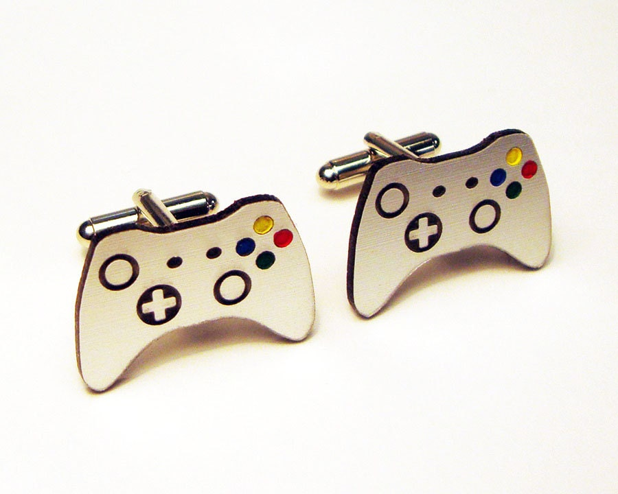 Grooms Gift, Wedding, grooms men, Video game controller silver cuff links in box, groom, wedding