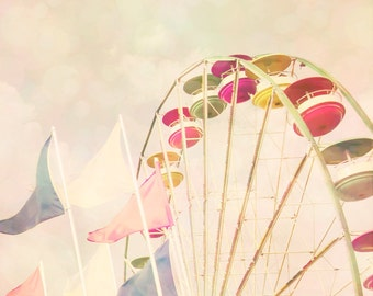 Summer colors pale pink little girl's room ferris wheel cotton candy fairytale pastel shades girly carnival print circus - Fall Candy 8x10