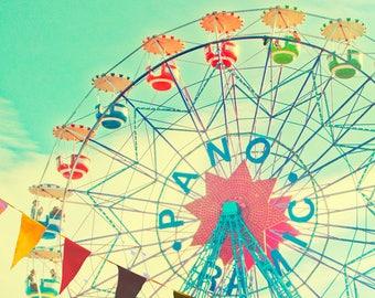 Carnival photography, nursery art, children's room decor, Barcelona, ferris wheel, wall art, baby, circus photograph, pastel, carnival art