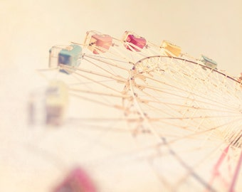 Carnival photography ferris wheel photograph pastel pink decor for a girls room dreamy carnival photo nursery wall - Going Up 8x10