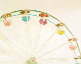 Ferris wheel photograph circus art carnival photography beige tones summer fun midway muted colors - Peaches and Cream 8x8