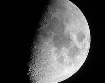 Moon photograph, astro photo, astrology, solar system, luna, black and white, waxing moon, geekery, space, planets