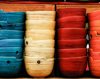 Kitchen decor, soup bowls, kitchen photo, Vietnam, Asian art, food, dining room decor, wooden bowl, primary colors, travel photography