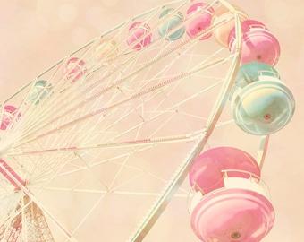 Children's decor, carnival photo, kid's room art, nursery decor, pastel pink, baby girl, baby blue, circus, ferris wheel
