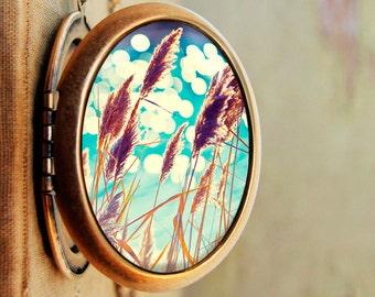 SALE - Photo locket photo pendant art locket Nature photography turquoise aqua harvest gold - See Spot Run