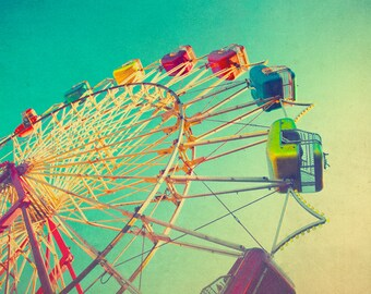 Photography, New York photography, mid century photography, mid century carnival, green, rainbow, nursery decor, ferris wheel art,