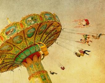Carnival photo, nursery art, gold, ochre, yellow, county fair, wall art, baby, circus, swing wall decor by bomobob - Wheee 8x8