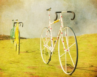 Tour de France, Froome, Bicycle photo, yellow jersey, biker, bikes, mustard yellow, bicycle print, cycling, polka dots