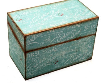 Wood Recipe Box Vintage Blue with Cooking Words Fits 4x6 Cards