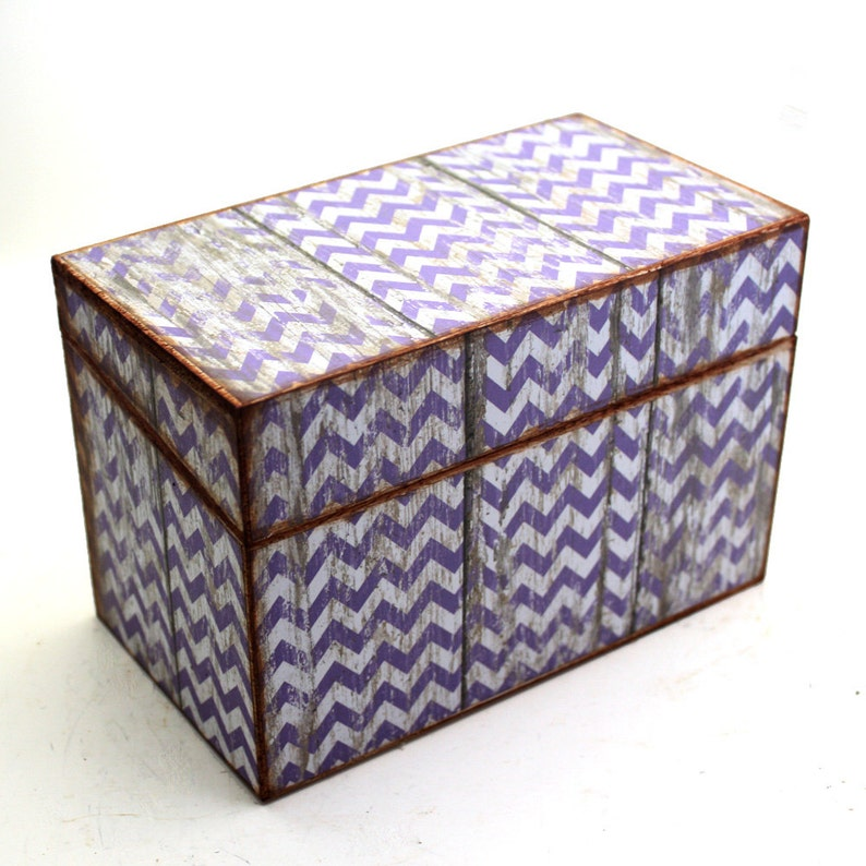 Recipe Box Barn Wood With Purple Chevron Wooden Box READY TO SHIP Fits 4x6 Cards
