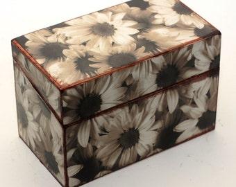 Recipe Box Wood Retro Sepia Sunflowers Wooden Box