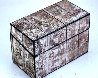 Wood Recipe Box Toile on White Barn Wood Farmhouse Kitchen Fits 4x6 Recipe Cards