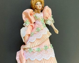 Stunning Vintage Victorian Handmade Lady Woman Miniature Doll by Artisan Loretta Kasza