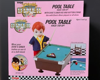 Vintage 1980s MIB Tyco Dixie's Diner Pool Table set with Mitch Doll and Button Stand