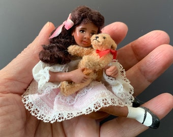 Vintage Signed and Dated Dollhouse Miniature Little Girl Doll with Removable Teddy Bear by Delores Coles