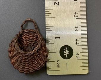 Vintage 1:12 Scale Artisan Handmade Woven Dollhouse Wall Basket