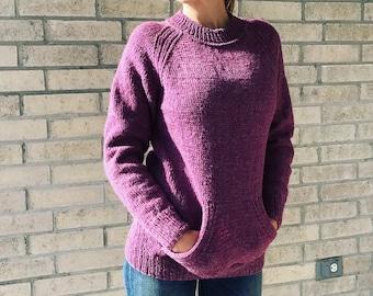 Sweater / dark rose / pullover / raglan / with pockets / wool blend / XS