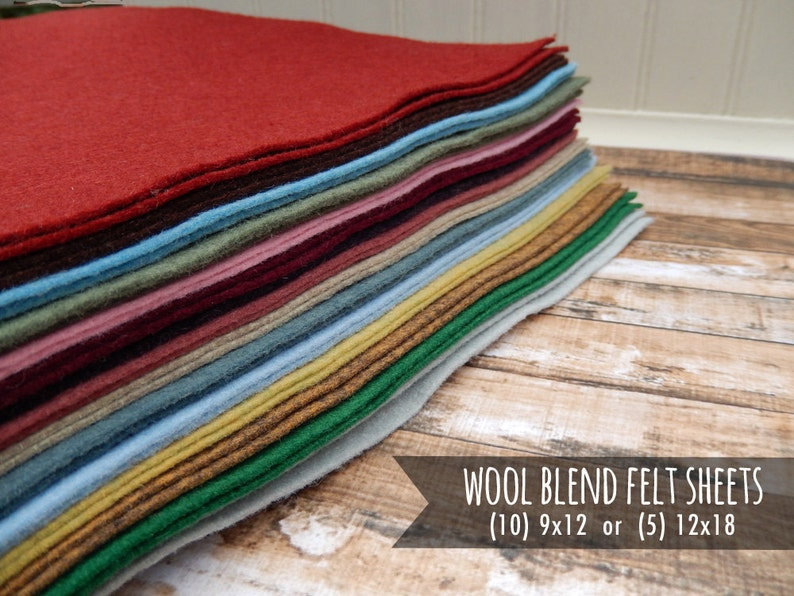 Wool Felt Sheets Merino Wool  You Choose Size and Color  image 0