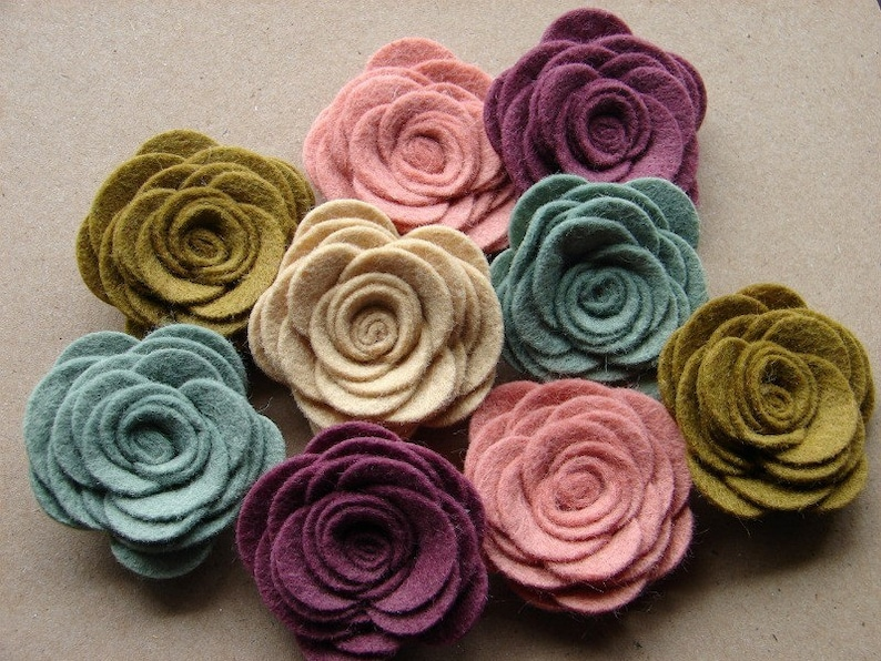 Wool Blend Felt Flowers Large Posies  Cottage Collection  image 0