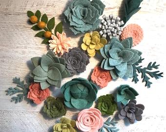 Felt Succulents / Felt Flowers / Loose Succulents / blush pink felt flowers / Boho Decor / Felt Garden / Succulent Garland / 18 Succulents