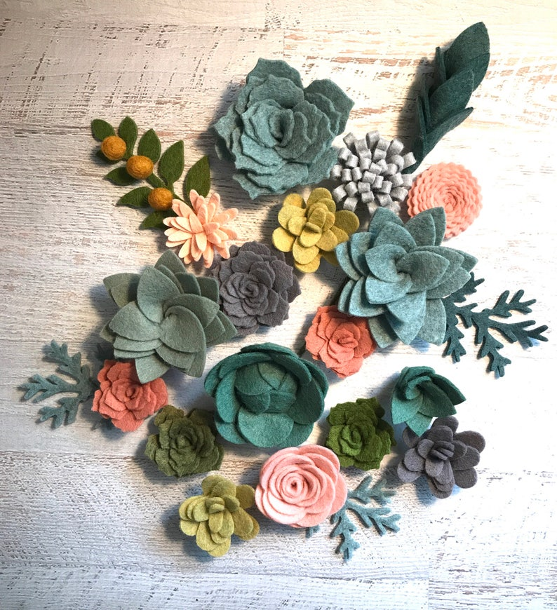 Felt Succulents Felt Flowers Loose Succulents blush pink image 0