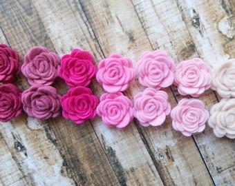 Wool Felt Pink Posies - Dimensional Flowers - The Original Mini Wool Felt Posies - Set of 14