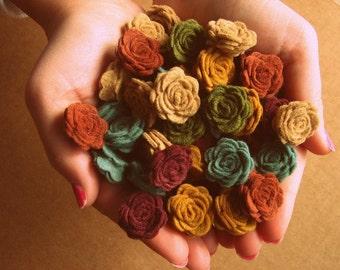 Felt Flowers Mother Earth or YOU PICK your Custom Colors - 24 Mini Posies - Felt Roses - DIY Felt flowers - Felt Flowers Garland