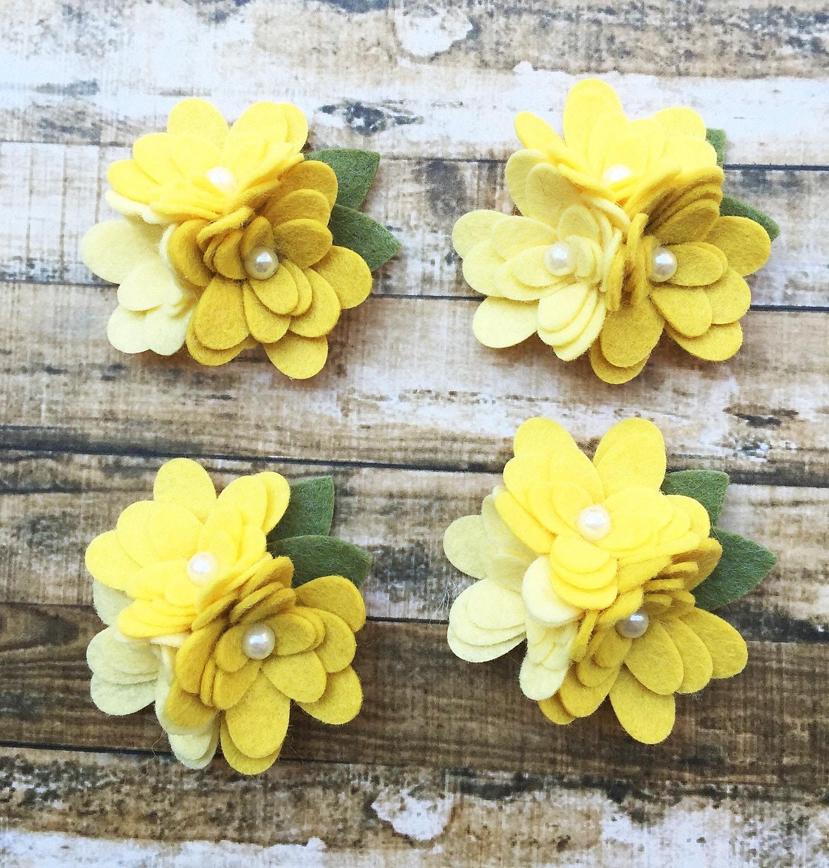 Wool Blend Felt Flower Mum Trios Yellow Ombre 4 Mum Trios Etsy