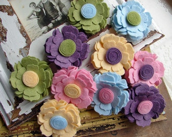 Wool Felt Flower - Spring Time Collection Blossoms- Dimensional Wool Felt Flowers