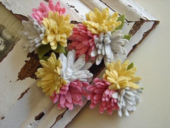 Wool felt flowers mini daisy trio pink lemonade collection etsy image 0 mightylinksfo