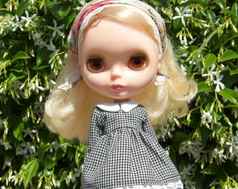 only love can break your heart  dress and head kerchief set for blythe in black
