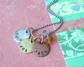 Children's Names Charms .. Triple Mini Disc Necklace w/Crystal .. Hand Stamped silver, copper, gold. round circle metal tags. Customize trio