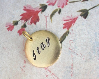 """One Word, Date or Name. Medium 3/4"""" Disc Circle Charm. Custom, Personalize, Monogram. Poster Name Cheer Tag. Antiqued Gold Gift, High School"""