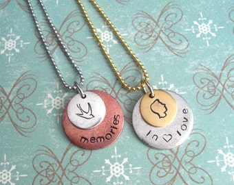 """Double Stacked Charm Pendant w/24"""" ball chain necklace. Memories, In Love, Heart. Customize both metal discs. Copper, Silver, or Gold Discs."""