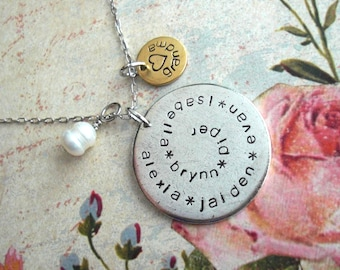 """Grande SPIRAL Name Charm Necklace . Large & Mini Discs + 18"""" Dainty Box Chain Hand Stamped custom antiqued metal charms Copper, Silver, Gold"""