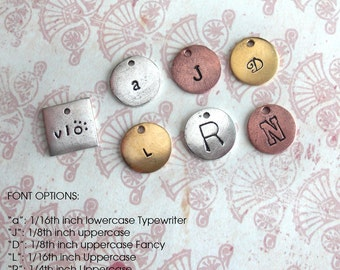 Cute & Flirty Little Charms .. Customize Design .. New Fonts, Animals, Symbols, Monograms, Initials, Sweetheart .. silver, copper or gold