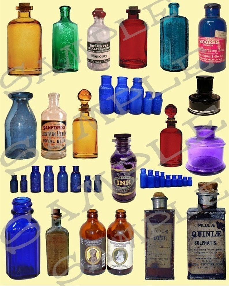 Medicine and Potion Bottles Collage Sheet 1 image 0
