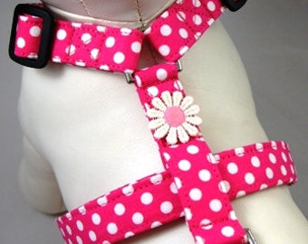 Dog Harness - Hot Pink Polka Dot
