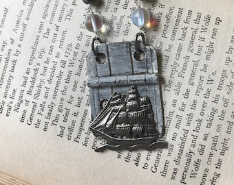 Ahoy Vintage Necklace Repurposed Hinge Tall Ship Boat Nautical