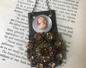Oui Vintage Repurposed Necklace Cameo Brooch Mother of Pearl Button Collage Hinge