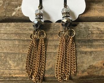Spinner Vintage Repurposed Assemblage Jewelry earrings tassels chain rhinestones