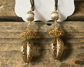 Call Back Vintage Repurposed Assemblage Earrings Gold Filigree