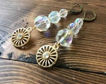 Pinwheel Vintage Repurposed Clear Glass Bead Gold Rhinestone Earrings