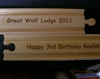 Personalized Wood Train Tracks - Laser Engraved