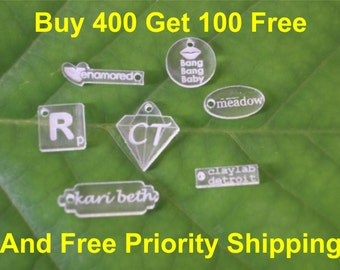 Acrylic Jewelry Tags  - Bulk Lot of 500 Custom Laser Cut and Engraved With Your Logo or Initials