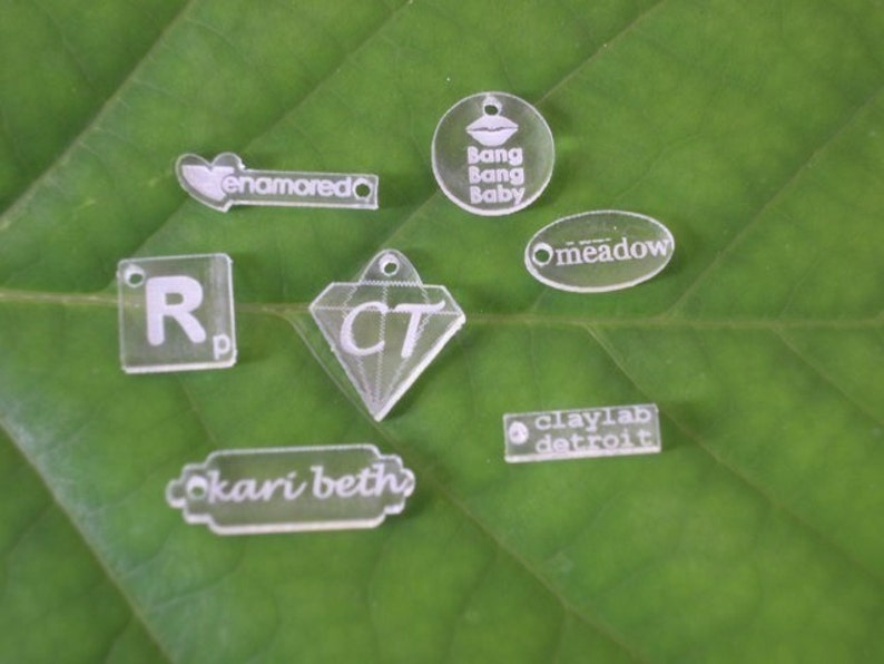 Acrylic Jewelry Tags   Custom Laser Cut and Engraved With image 0