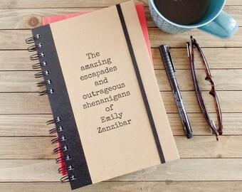 High School Graduation Gift, Travel Journal, Personalized Journal, Boyfriend Gift, Spiral Notebook, Writing Journal, Personalized Gift AE1