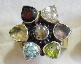 Size 8 Sterling Silver Ring New Vintage Wholesale Garnet Citrine Amethyst Peridot Blue Topaz