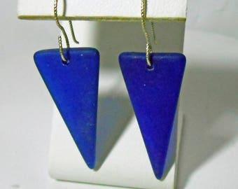 Sea Glass Sterling Silver Earrings Cobalt Blue Beach Glass Seaglass
