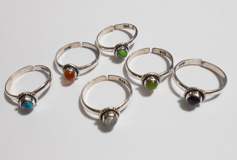 Toe Ring Adjustable  Moonstone Spectralite Sterling Silver New Vintage Wholesale Midi Knuckle Childs